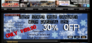 Capital GMC website's homepage