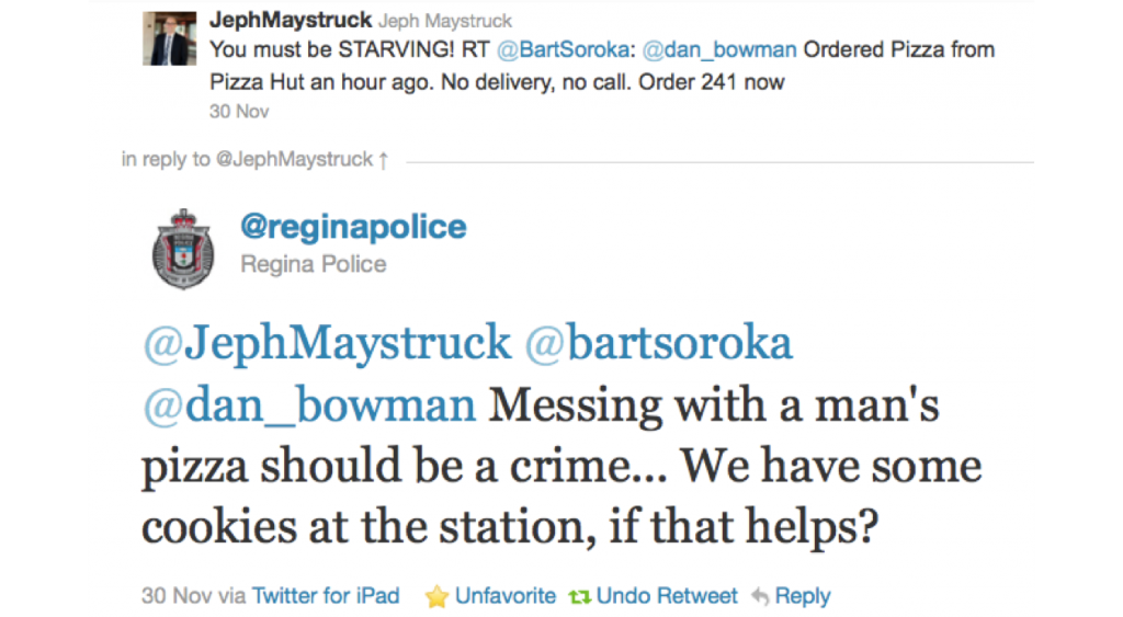 Regina Police Tweet to Me and Dan Bowman and Bart Soroka