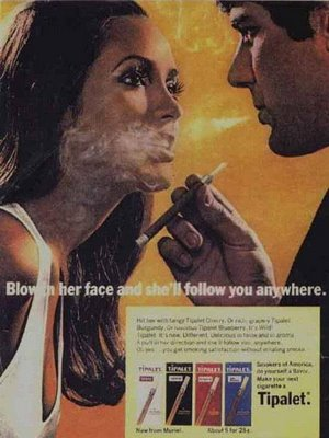 Old advertising-blow-it-in-her-face